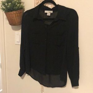 Basic boxy black sheer long sleeve top XS